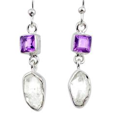 925 silver 9.25cts natural herkimer diamond amethyst dangle earrings r65716
