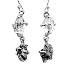 925 silver 15.93cts natural herkimer diamond campo del cielo earrings t49779