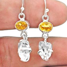 925 silver 10.50cts natural herkimer diamond citrine dangle earrings t49804