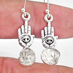 925 silver 8.11cts natural herkimer diamond hand of god hamsa earrings r61567