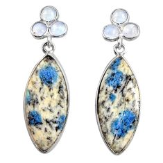 925 silver 15.36cts natural k2 blue (azurite in quartz) dangle earrings d39520
