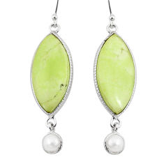925 silver 17.90cts natural lemon chrysoprase pearl dangle earrings r75806