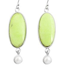 925 silver 19.12cts natural lemon chrysoprase white pearl dangle earrings r75803