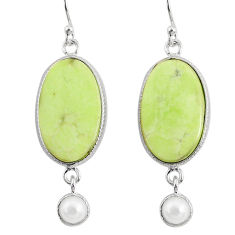 925 silver 16.68cts natural lemon chrysoprase white pearl dangle earrings r75810