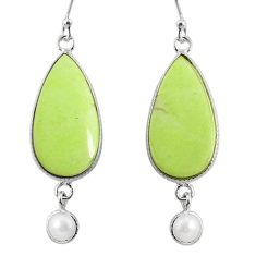925 silver 17.17cts natural lemon chrysoprase white pearl dangle earrings r75814