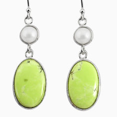 925 silver 14.85cts natural lemon chrysoprase white pearl dangle earrings r75818