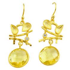 14.12cts natural lemon topaz topaz 14k gold handmade dangle earrings t11367