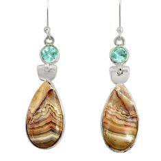 Clearance Sale- 925 silver 15.37cts natural mexican laguna lace agate dangle earrings d39551