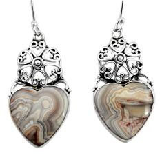Clearance Sale- 925 silver 18.15cts natural mexican laguna lace agate dangle earrings d45744
