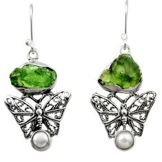 925 silver 11.68cts natural moldavite (genuine czech) butterfly earrings r29532