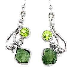 925 silver 8.49cts natural moldavite (genuine czech) dangle earrings r57330
