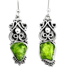 925 silver 8.49cts natural raw peridot crystal dangle earrings r65945