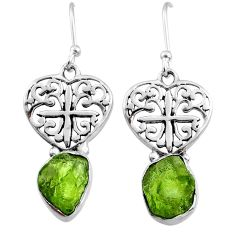 925 silver 8.82cts natural raw peridot crystal dangle earrings r65950