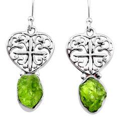 925 silver 8.73cts natural raw peridot crystal dangle earrings r65959