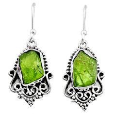 925 silver 8.68cts natural raw peridot crystal dangle earrings r65965