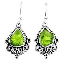 925 silver 8.53cts natural raw peridot crystal dangle earrings r65967