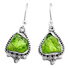 925 silver 8.13cts natural raw peridot crystal dangle earrings r65991