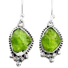 925 silver 7.71cts natural raw peridot crystal dangle earrings r65998