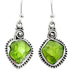 925 silver 9.37cts natural raw peridot crystal dangle earrings r66004