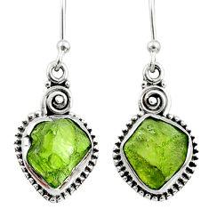 925 silver 9.37cts natural raw peridot crystal dangle earrings r66004