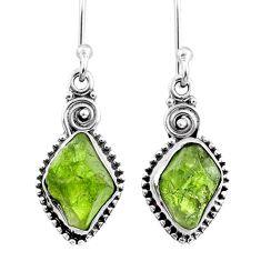 925 silver 8.93cts natural raw peridot crystal dangle earrings r66010