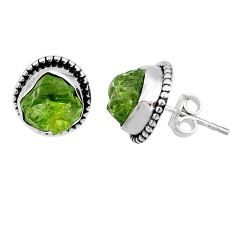 925 silver 8.56cts natural raw peridot crystal dangle earrings r66020