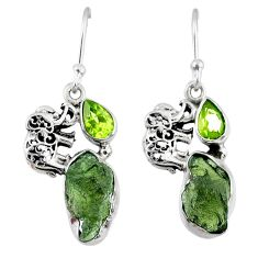 925 silver 9.25cts natural moldavite (genuine czech) elephant earrings r57298