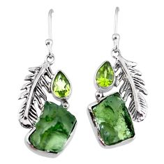 925 silver 8.80cts natural moldavite (genuine czech) feather earrings r57308