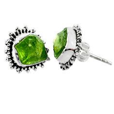 925 silver 8.56cts natural raw peridot crystal stud earrings r66024