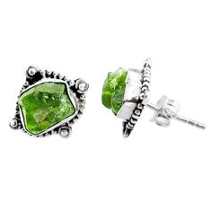 925 silver 8.12cts natural raw peridot crystal stud earrings r66030