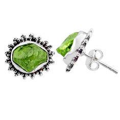 925 silver 8.51cts natural raw peridot crystal stud earrings r66039