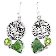 925 silver natural moldavite (genuine czech) tree of life earrings r57245