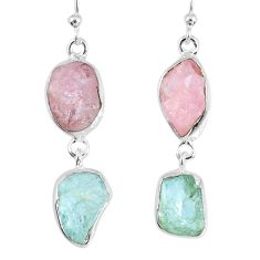 925 silver 16.06cts natural morganite rough aquamarine rough earrings r55404