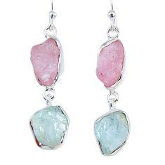 925 silver 15.10cts natural morganite rough aquamarine rough earrings r55409