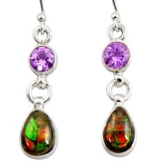 925 silver 7.64cts natural multi color ammolite (canadian) earrings r39205