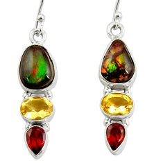 925 silver 10.02cts natural multi color ammolite (canadian) earrings r39231