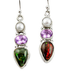 925 silver 12.36cts natural multi color ammolite (canadian) earrings r39579