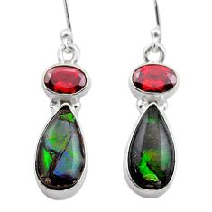 925 silver 9.53cts natural multi color ammolite (canadian) earrings t45285