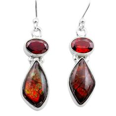 925 silver 9.12cts natural multi color ammolite (canadian) earrings t45298