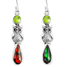 925 silver 10.01cts natural multi color ammolite (canadian) owl earrings r56248