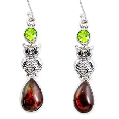 925 silver 11.27cts natural multi color ammolite (canadian) owl earrings r56257