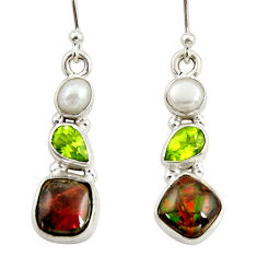 925 silver 9.16cts natural multi color ammolite (canadian) pearl earrings r39223