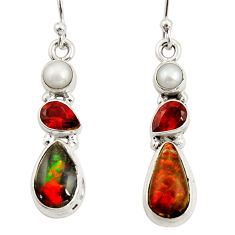 925 silver 9.61cts natural multi color ammolite (canadian) pearl earrings r39229