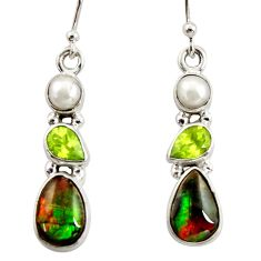925 silver 9.16cts natural multi color ammolite (canadian) pearl earrings r39567