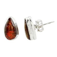 925 silver 7.42cts natural multi color ammolite (canadian) stud earrings r39492