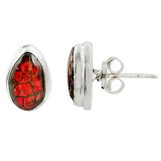 925 silver 6.68cts natural multi color ammolite (canadian) stud earrings r39495