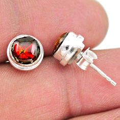 925 silver 4.23cts natural multi color ammolite (canadian) stud earrings t19404