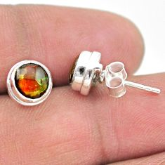925 silver 4.12cts natural multi color ammolite (canadian) stud earrings t19409