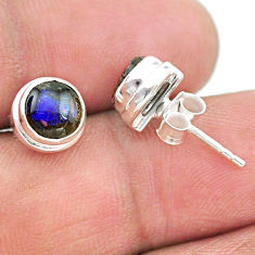 925 silver 4.16cts natural multi color ammolite (canadian) stud earrings t19414