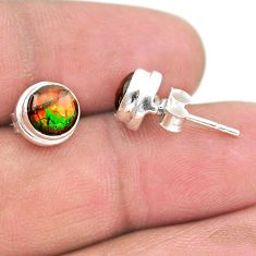925 silver 4.16cts natural multi color ammolite (canadian) stud earrings t19430